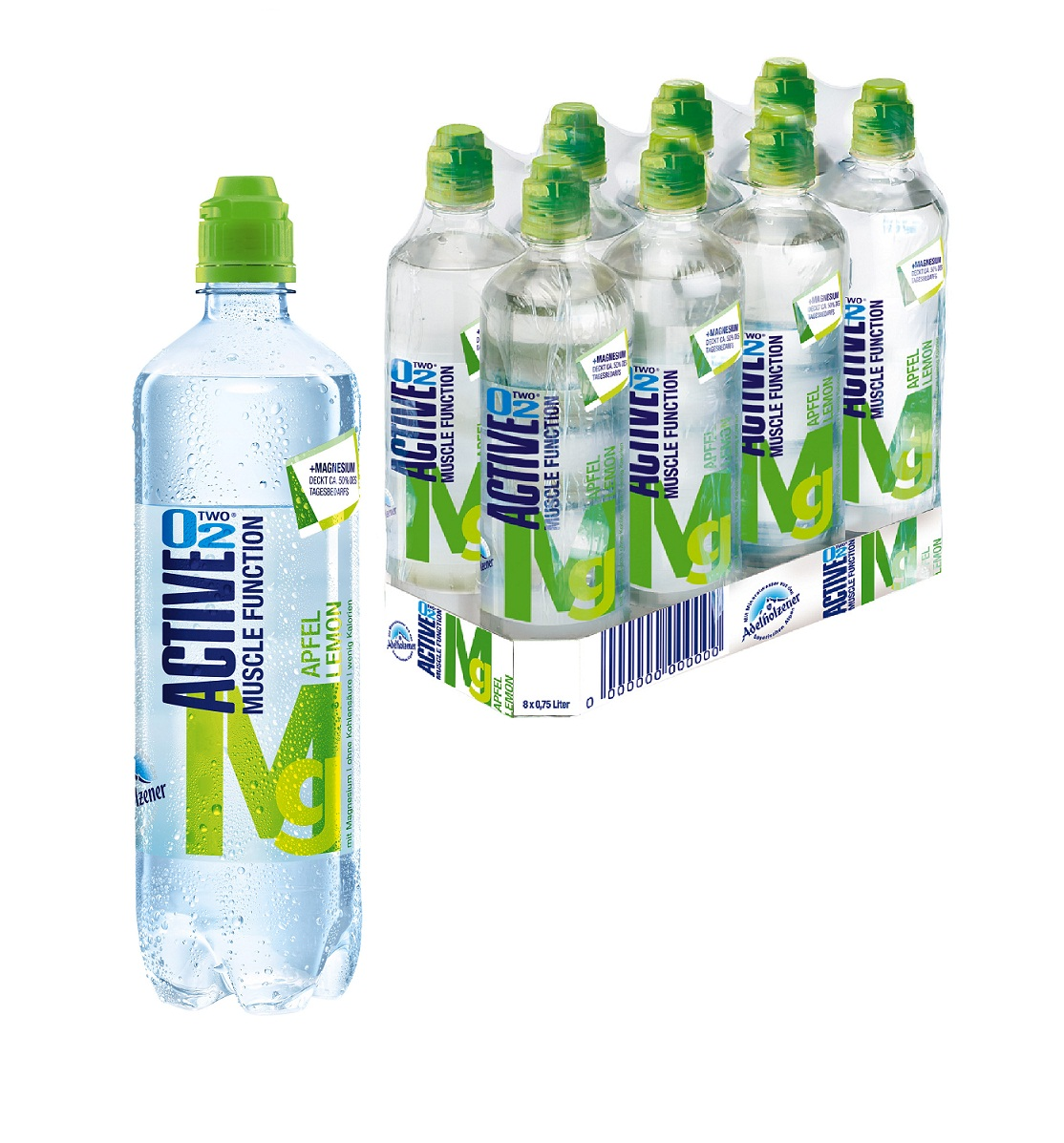 Active O2 Apfel Lemon Mg 8 x 0,75 Liter (Sportcap)